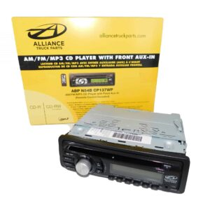 Alliance Truck Parts AM/FM/MP3 CD Player with Front Auxillary. Part # ABP N54B CP137WP from Tracey Truck Parts.