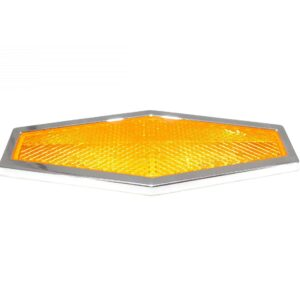 Truck Lite Hexagon Yellow Reflector, Chrome ABS, Adhesive Mount. Part # TL 98034Y from Tracey Road Equipment.